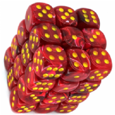 Red & Yellow Vortex 12mm D6 Dice Block